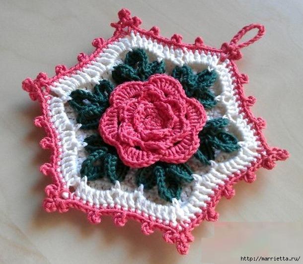 крючком схема цветы в квадрате