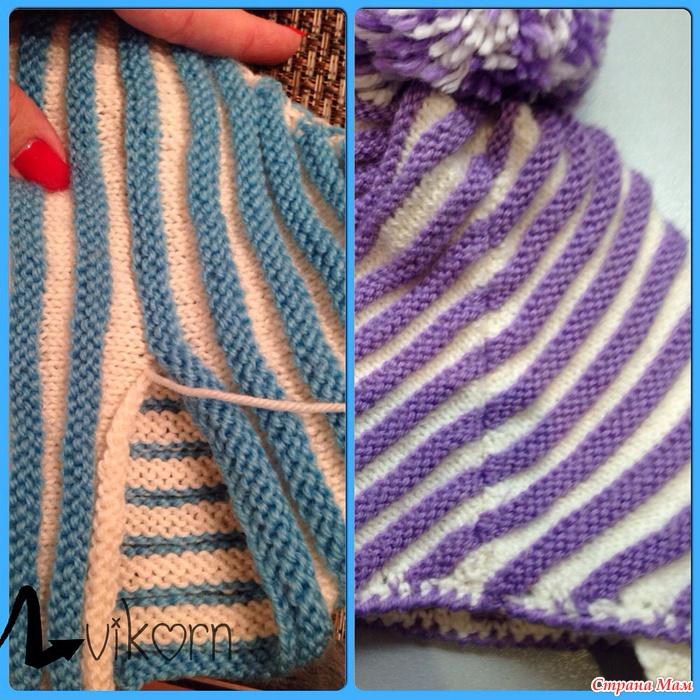 Вязание шапок спицами по диагонали 135