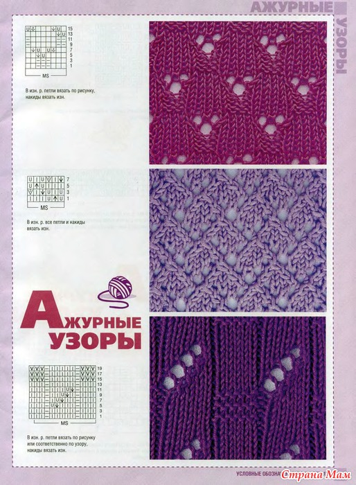 Каталог вязания спицами ажурные узоры
