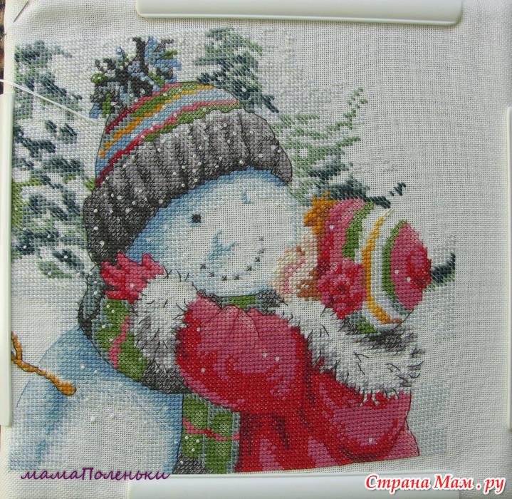 Вышивка дименшенс поцелуй снеговика
