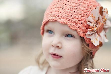 Детская шапка крючком из ракушек, размеры от 1 до 4 лет