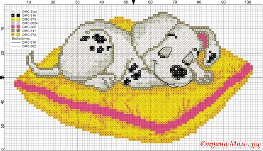 Схемы вышивки с далматинцами 135