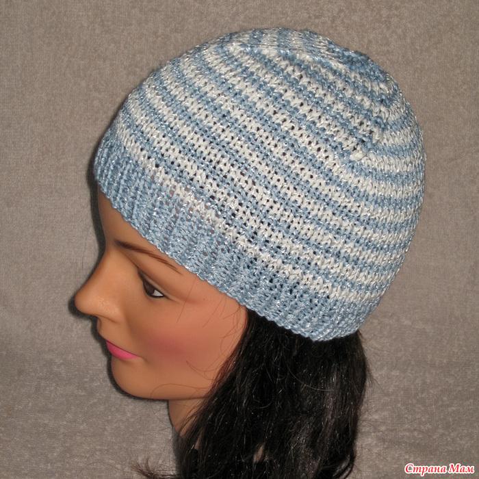 Вязание спицами полосатые шапки 71