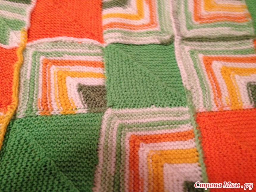 Вязание спицами плед пэчворк 145