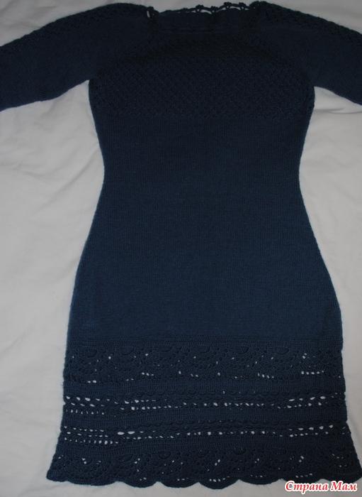Платье теплое спицами и