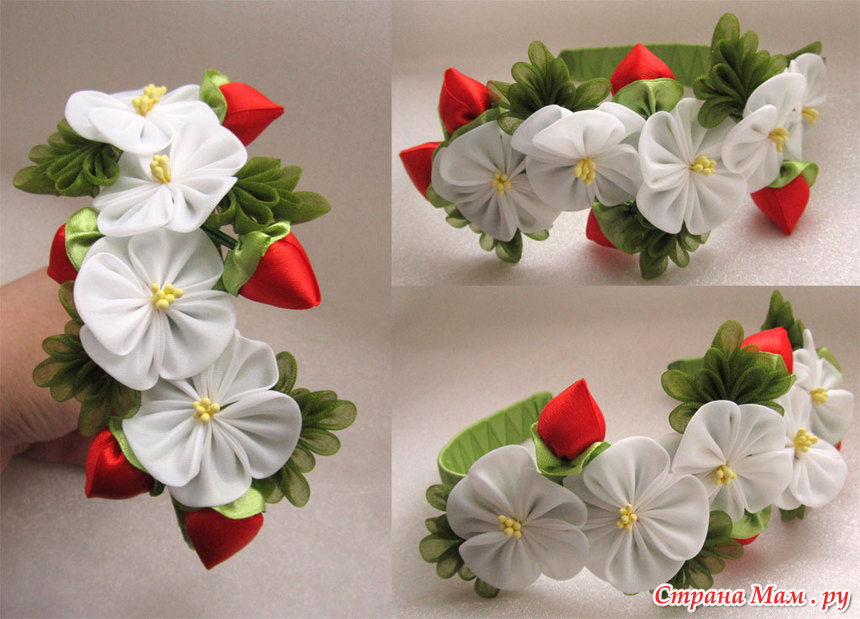 Ободок с цветами из органзы