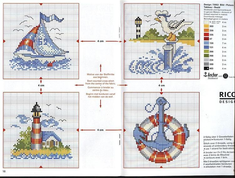 Скачать схемы для вышивки на морскую тематику