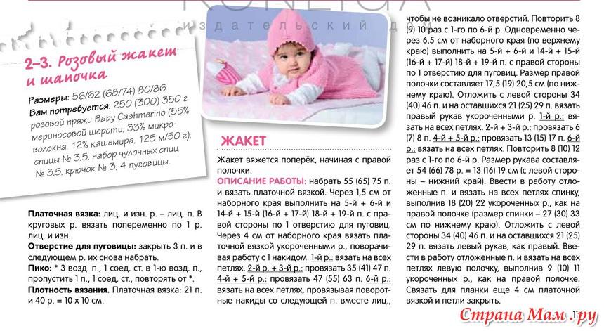 Вязание спицами комплекта для новорожденного с описанием и схемами 68