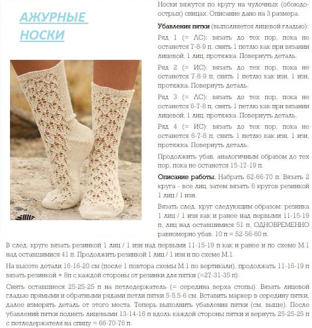 Вязание спицами носочки для девочки