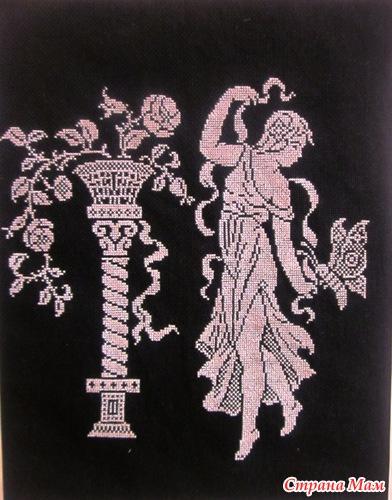 Схемы вышивки на черной канве белыми нитками 34