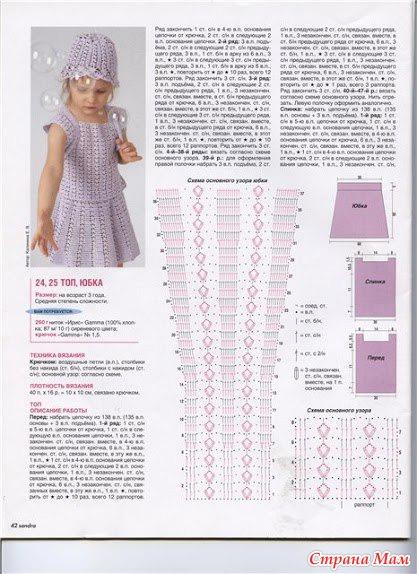 Вязание крючком для девочек платье со схемами и описанием