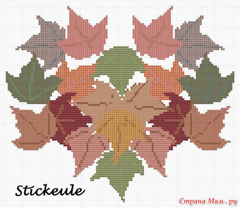 Вышивка крестом листья 26