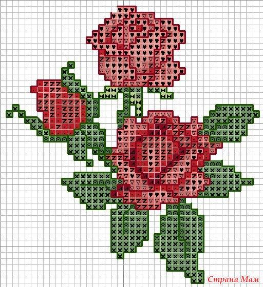 Вышивка крестом цветы схемы фото