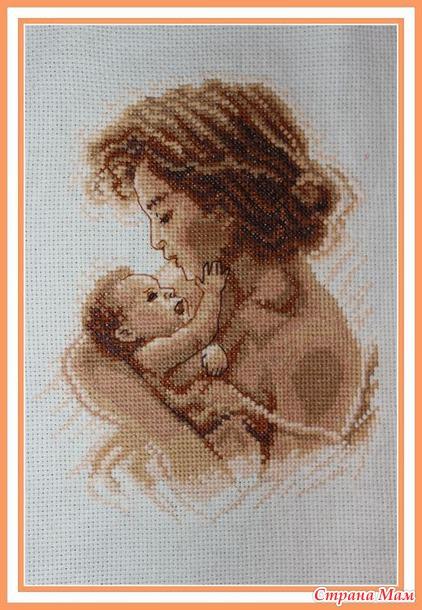 Женщина и ребенок вышивка