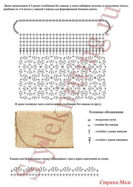 Вязаные клатчи и схемы