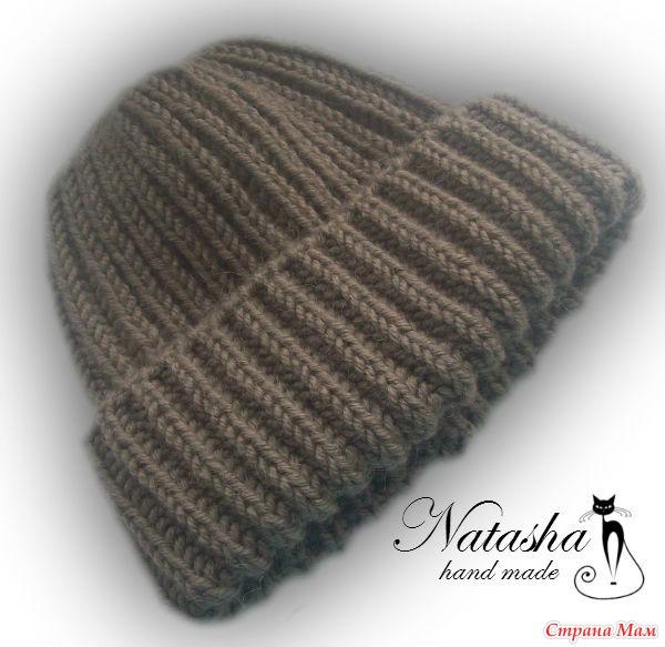 Вязание спицами шапка с отворотом английской резинкой спицами 22