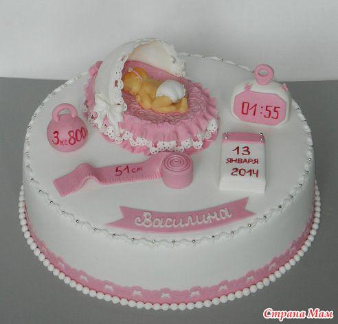 Торт из мастики на выписку для девочки