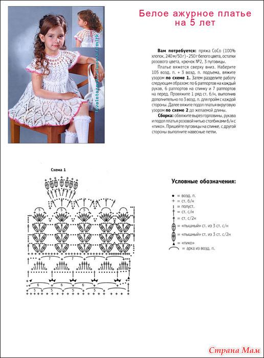 Вязание ажурных платьев для детей до года