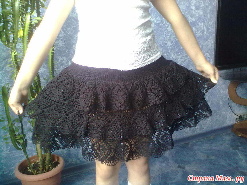 Как шьют юбка школьная с крючком