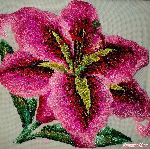 Схема для вышивки бисером лилии