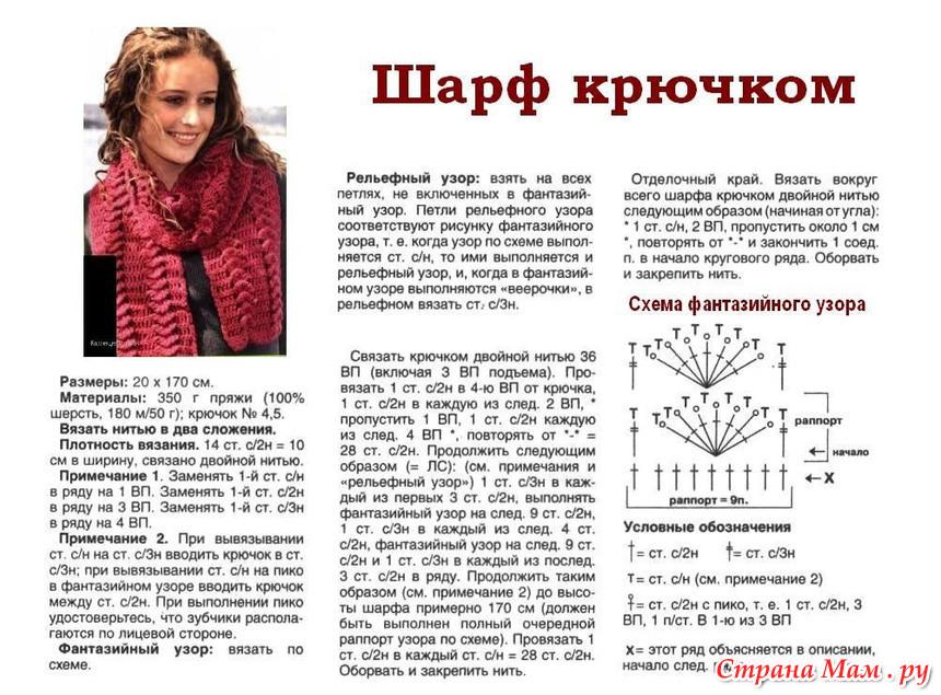 Крючок вязание шарфы схемы и описания