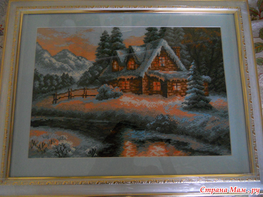 Вышивка риолис зимний пейзаж