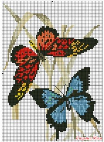 Вышивки. Схемы бабочек.