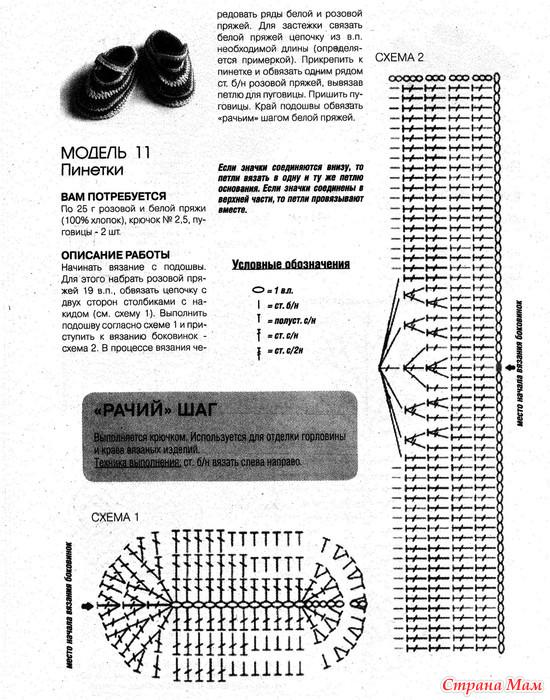Вязание крючком схемы и подробное описание пинеток