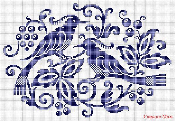 Схема монохромной вышивки крестиком