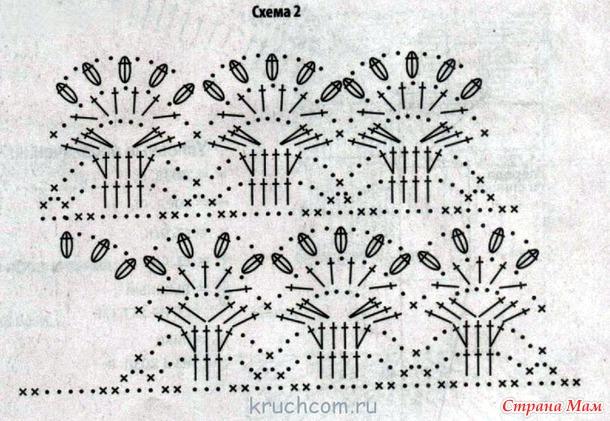 Платье вязанное крючком с лилиями 140