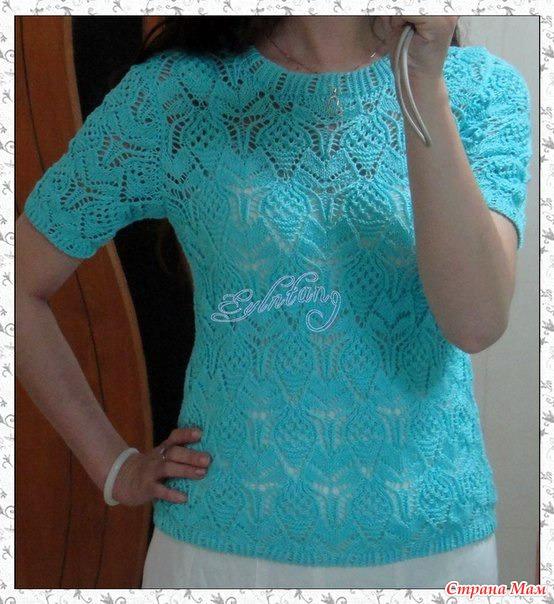 Летний пуловер с короткими рукавами. Спицы.