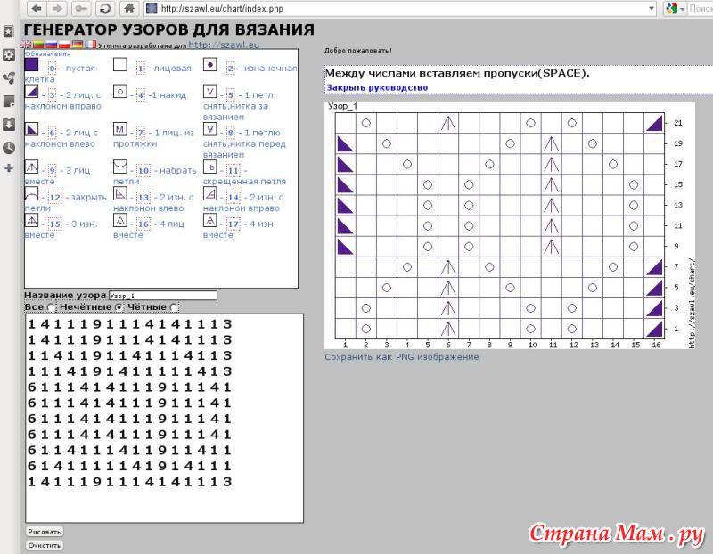 Программа узора вязания