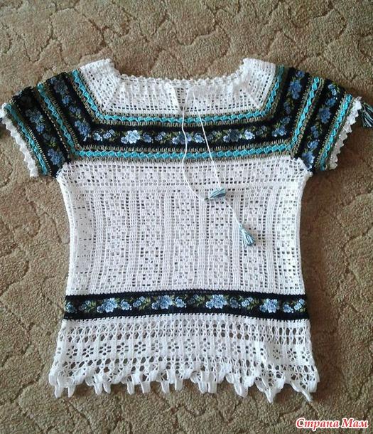 Блузка в этностиле. Филейное вязание +тесьма