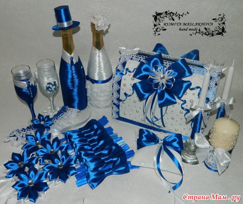декор свадебных свечей своими руками фото в бело синих цветах - Портал самоучек