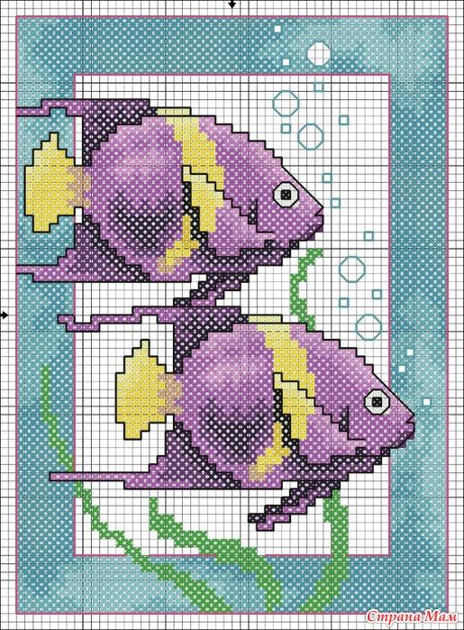 Вышивки крестиком. Рыбки.