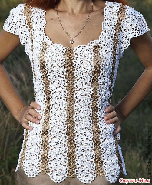 Вяжем 2 модели красивейших блуз лентами. Присоединяйтесь