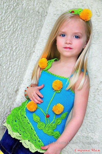 Детский топик с одуванчиками
