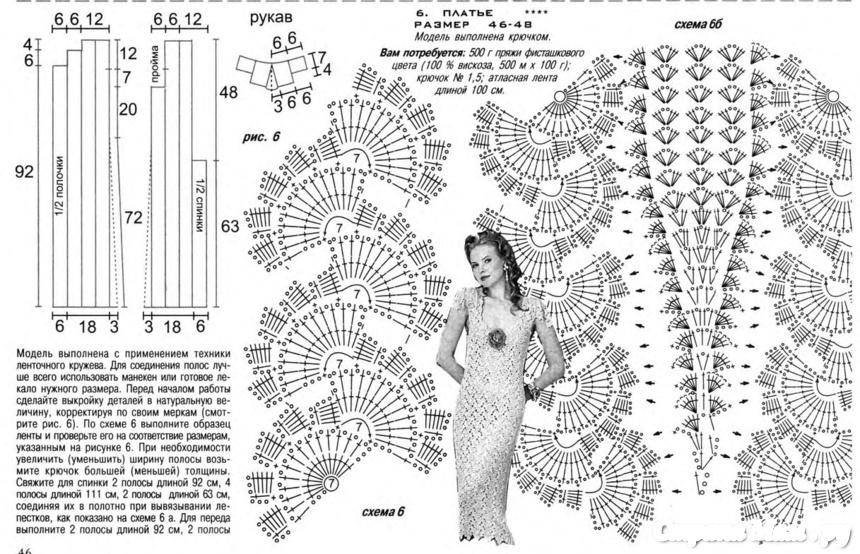 Ленточное кружево крючком схемы и модели платье
