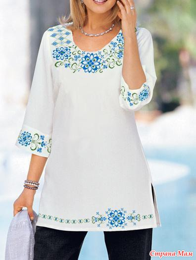 Вязано-вышитая блуза