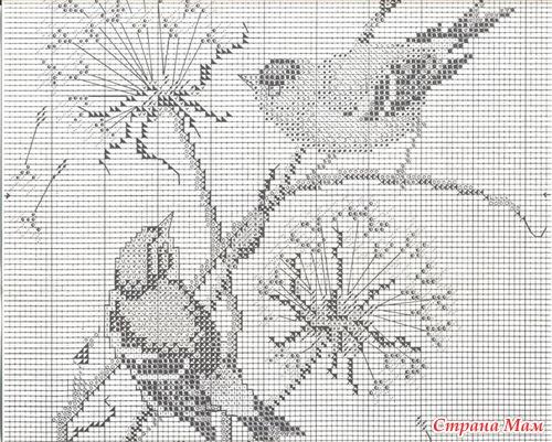 Птица монохром вышивка крестом