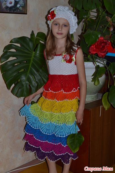 Платье для девочки радужное