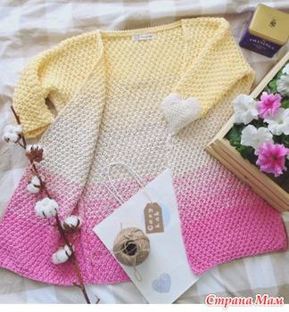 Лаконичный жакет платочной вязкой на осинке - 6ff