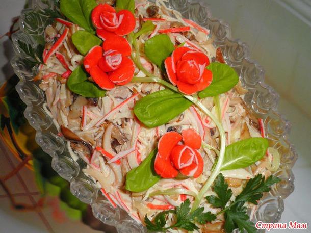 Как сделать розочку в салат