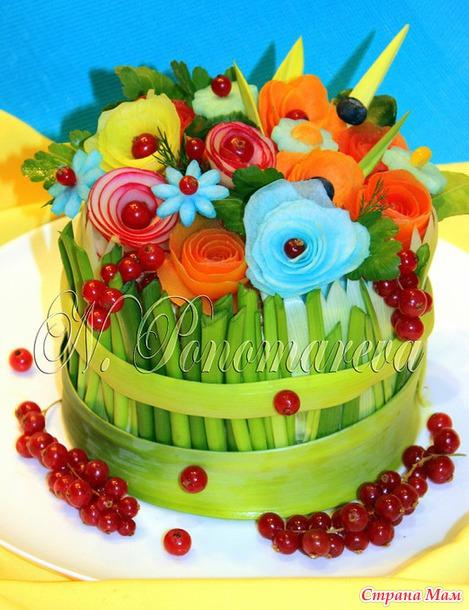 """""""Цветочная тема"""" в украшении салатов + немного колбасных и рыбных цветов (дополняю постоянно образцы)"""