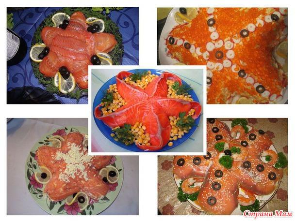 Морепродукты на столе (красивая выкладка, украшение салатов и не только), образцы без рецептов.