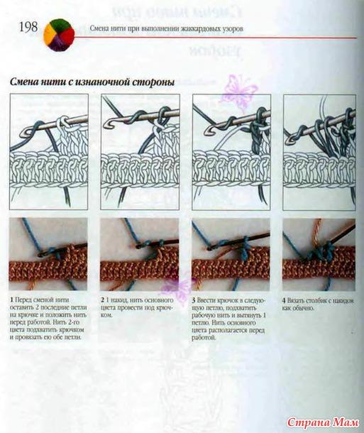 Как при вязании спицами менять цвета