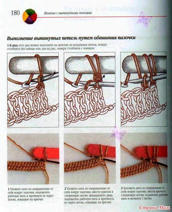 Как вяжутся крючком вытянутые петли