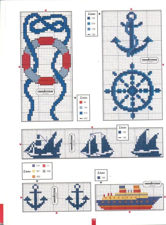 Схемы вышивок крестом якорь
