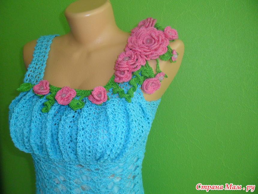 Вязание крючком цветков для платья