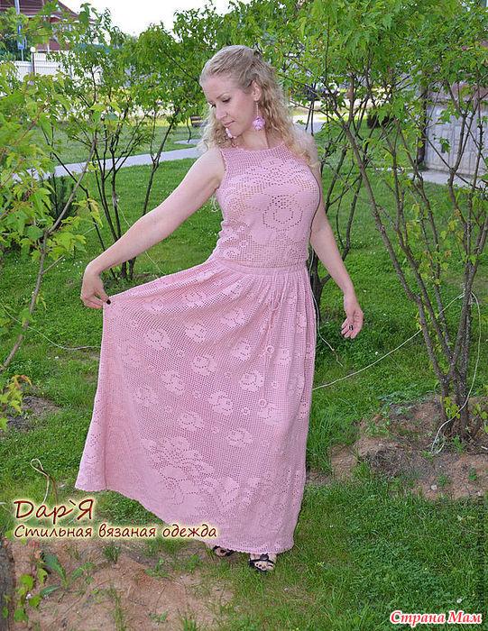 Филейное вязание крючком платья в пол